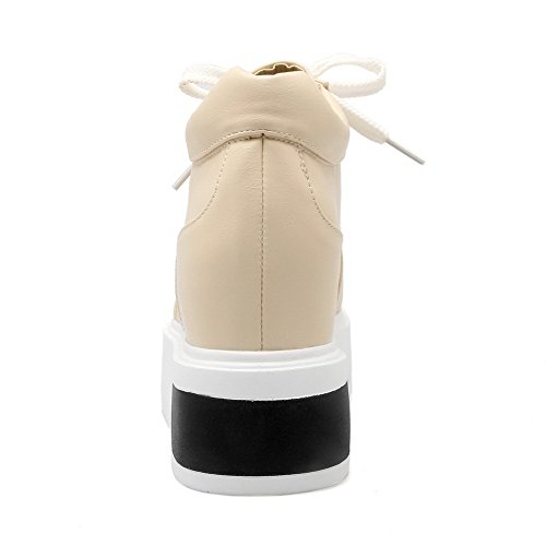 Voguezone009 Femme Pure Shimmer Talon Haut Bout Fermé Bout Rond Cravate Beige Ballerines