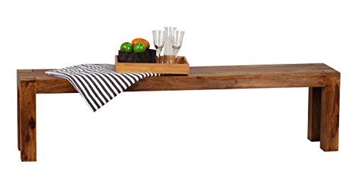 WOHNLING Esszimmer Sitzbank Massiv-Holz Sheesham 180 x 45 x 35 cm Design Holz-Bank Natur-Produkt Küchenbank Landhaus-Stil dunkel-braun Bank 4-Sitzer für innen ohne Rücken-Lehne Echt-Holz unbehandelt
