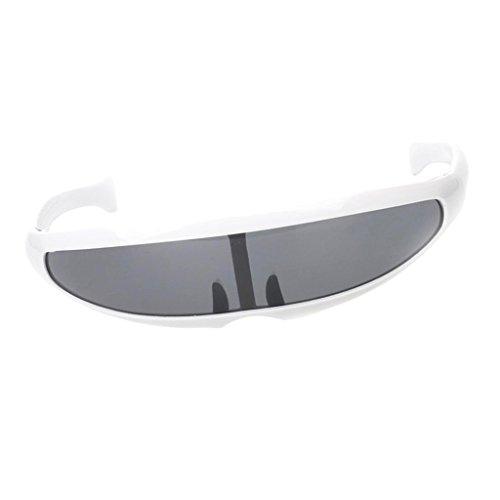 B Baosity Herren Damen Verspiegelte Sonnenbrille Futuristische Alien Cyclops Foto Prop Fotorequisiten - Weiß Schwarz