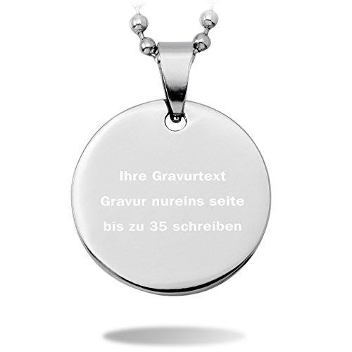 MeMeDIY 25mm Silber Ton Edelstahl Runde Kreis Circle Anhänger Halskette,mit 58cm Kette Gravur