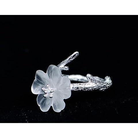 SUYA Fatta a mano, lucidato a mano, forma di fiore di prugna intagliato a mano di cristallo bianco, con 925 argento, anelli, gioielli, fresco, classico stile retrò cinese, regali