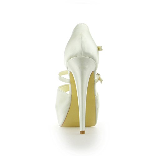 de Pompes JIA Satin Peep de Mariage en à Chaussures JIA Chaussures Talon Talon Aiguille Pour Mariée Aiguille Plateforme T Toe 20130 Femme Beige Strap wZHEHqd