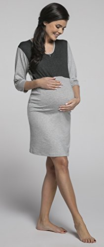 Happy Mama. Damen Umstands-Nachthemd mit Stillfunktion. 3/4 Ärmel. 027p Lichtgrau Melange & Graphit