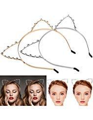 Katzenohren Haarreif Haarband, ETEREAUTY Kristall Strass Metall Katze Ohr Stirnband Haarreif für Halloween Karneval Kostüm Cosplay Party 2 Stück ()