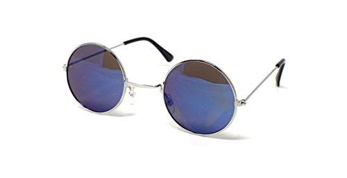 UltraByEasyPeasyStore Silber Mit Blauen Linsen Kleine Stil Erwachsene Retro Runde Sonnenbrille John Lennon Vintage Look Qualität UV400 Elton Brille Herren Damen Klassische Unisex Brillen