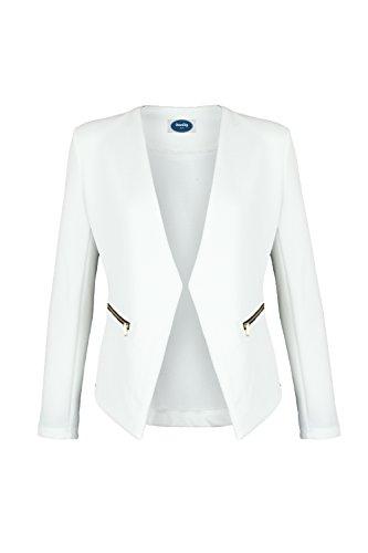 4tuality AO Blazer kragenlos mit Zipper weiß Gr. XXXXL