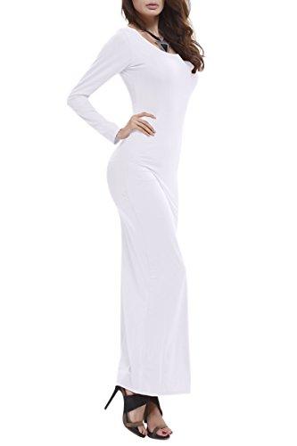 YMING Damen Herbst Langarm Kleid Cocktail Abendkleider Strandkleid Frühling Maxikleider Weiß