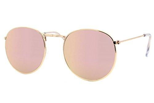Cheapass Gafas De Sol Redondas Doradas Rosa Espejadas UV-400 Retro Met