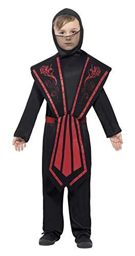 Smiffys Kinder Ninja Kostüm, Jumpsuit mit Kapuze, Überwurf, Gürtel und Bänder, Größe: L, 25081