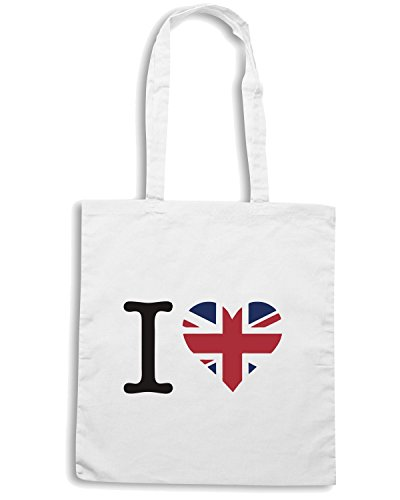 T-Shirtshock - Borsa Shopping WC0410 I Love United Kingdom Bianco