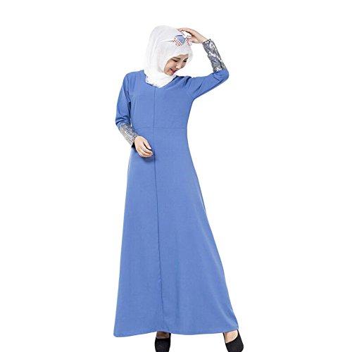Meijunter Turkey Islamic Femme Robes Kaftan Abaya Musulman Manche longue Dress Gown blue
