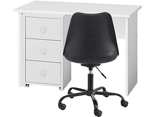 Loft24 Combat Kinder Schreibtisch Rollcontainer Bürotisch Bürostuhl Schreibtischstuhl Büromöbel-Set weiß (Drehstuhl schwarz)