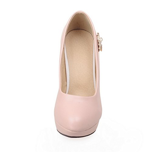 1TO9Ladies metal Dress, ornamento con poliuretano pumps-shoes Pink