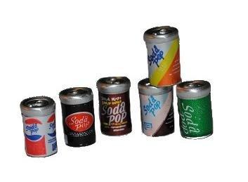 Unbekannt 6 Stück Getränkedosen - Getränke / Miniatur - Dose Limonade Cola Bier Set Küche - Puppenstube Küche - Maßstab 1:12 (Miniatur-limonade)
