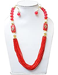 Elegant Designs Fashion Jewellery Red And White Beaded Designer Necklace Set With Drop Earrings For Women And...