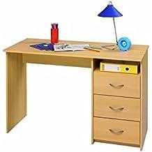 Mesa de estudio , ideal para mesa de ordenador o de escritorio, dimensiones (tapa superior 123 cm de largo x 50cm de ancho y 76,5cm de altura ) cajonera de 3 cajones con corredera metalica