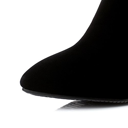 AgooLar Damen Niedrig-Spitze Reißverschluss Hoher Absatz Spitz Zehe Stiefel Schwarz