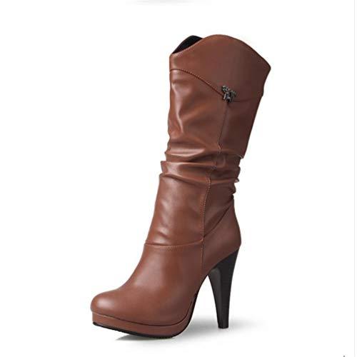 Frauen Wasser Beweis High Heel Mitte Kalb Stiefel Fashion Damen Runde Spitze Heels Schuhe