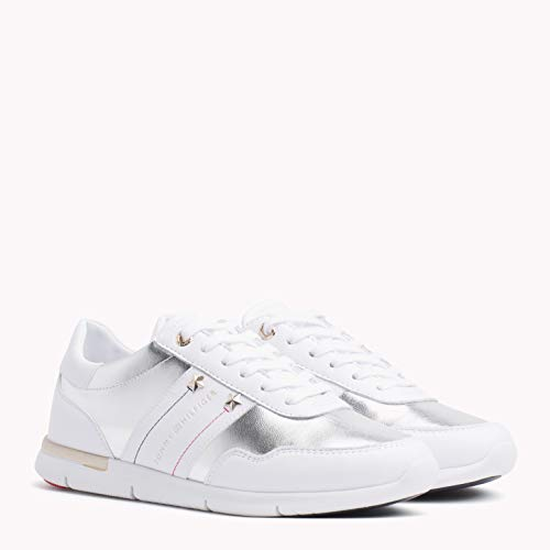 Tommy Hilfiger Damen Tommy Essential Leather Sneaker, Weiß (White 100), 40 EU - Tommy Hilfiger Sportliche Sneakers