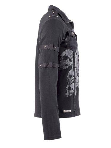 Queen of Darkness, Poloshirt mit grauem Totenkopfaufdruck Schwarz