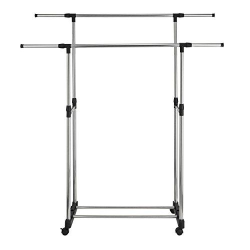 Harima - Tragbar Doppel Kleiderständer | Metall Chrom Doppelt Tidy Schiene mit Kleiderhaken und Rädern | Einstellbar