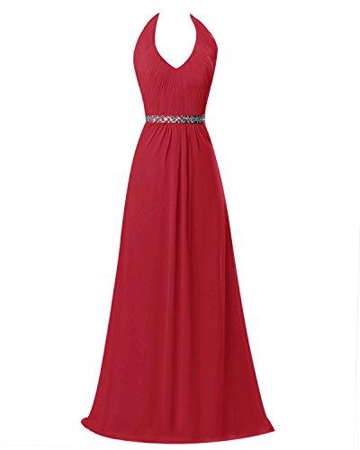 Dresstells Robe de cérémonie Robe de soirée forme empire longueur ras du sol Rouge Foncé