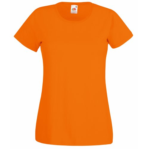Baumwolle Damen Short Sleeve T-shirts (Fruit of the Loom Damen T-Shirt Valueweight T Lady-Fit 61-372-0 Orange XXL)