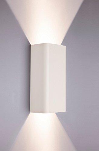 Wandleuchte eckig Wandlampe Up Down Weiß GU10 bis 35 Watt 230V Metall Lampe Wohnzimmer modern Hotelleuchte Esszimmer Beleuchtung Küche Flur Leuchte