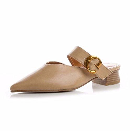Bbslt-retro 4cm Seguido Por Semi-slippers Baotou Spring Cinturón Clip Y Wear Con Bold Slippers Consejos Femeninos Cool And Black