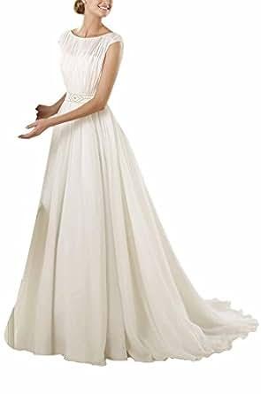 GEORGE BRIDE Girocollo semplice vita alta vestiti da sposa ,Taglia 48,Bianco