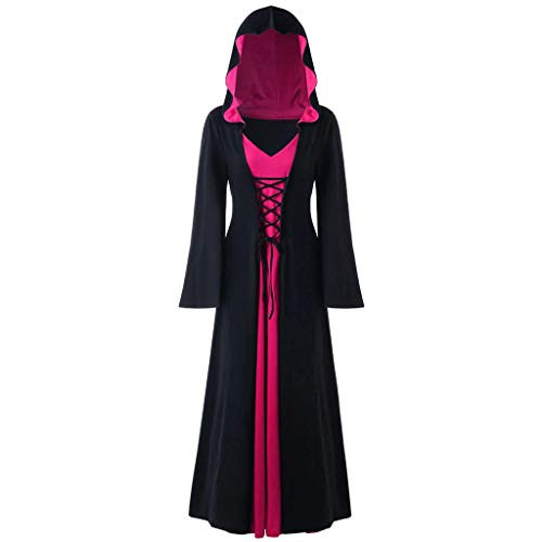 INLLADDY Kleid Damen Gothic Kapuzenkleid Retro Umhang Robe Halloween Karneval Party Cosplay KostüM Deko Pink XL (Power Ranger Rosa Kostüm Kind)