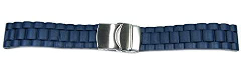 BRAND NEW High Quality Rubber/Resin Metal Clasp Replacement Watchstrap/Band - R1116 (Blue, 18mm)