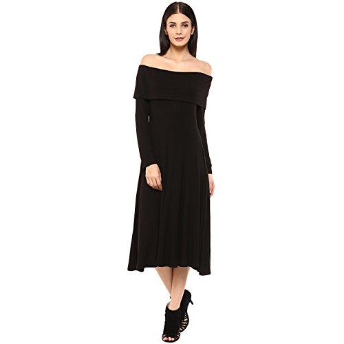 Femella Fashion's Black Full sleeve Bardot Midi Dress (DS-1984959-1242-BLK-XL )