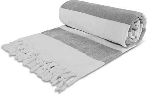 normani Strand-Handtuch mit Rucksackfunktion - Badehandtuch aus 100% Baumwolle - großes Saunatuch [90 cm x 170 cm] Farbe Grau (Strand Handtuch Große)