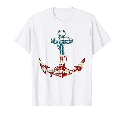 AMERIKANISCHE 4. JULI HEMDEN NAUTISCHE ANKER FLAG T-Shirt (T-shirts Vierter Niedlich, Juli)