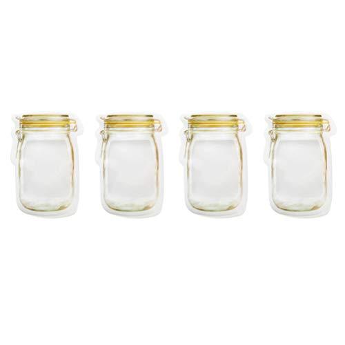 Ounona sacchetto con chiusura a pressione mason bottiglia forma barattolo in vetro per conserva alimentare richiudibile 4 pezzi (giallo)