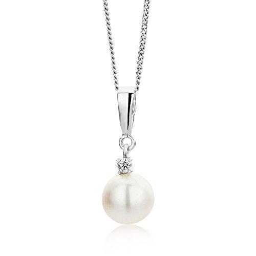 Orovi collana pendente donna con perla d'acqua dolce biancha con diamante taglio brillante ct 0.035 in oro bianco 9 kt 375 catena 45 cm