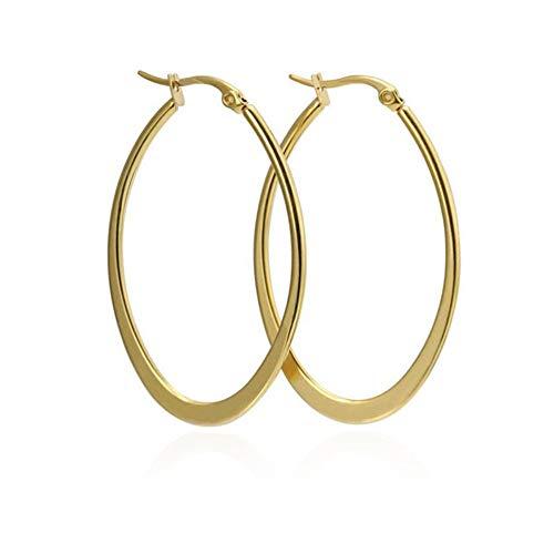 ZHOUYF Ohrringe Ohrstecker Ohrhänger Klassische Gold-Farbe Große Creolen Für Frauen Edelstahl Schmuck Party Ohrring