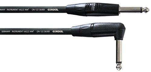 Cordial CII 6 PR Instrument/Gitarre Kabel (Winkelklinke 6,3mm mono/Klinke 6,3mm mono, Länge 6m) - Kabel Instrument Lange