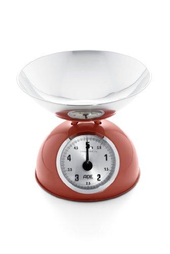 ADE Mechanische Küchenwaage KM 861 Luisa. Analoge Waage im Retro-Look mit Schüssel aus Edelstahl für Küche und Haushalt. Präzise wiegen bis 5 kg. Farbe: rot