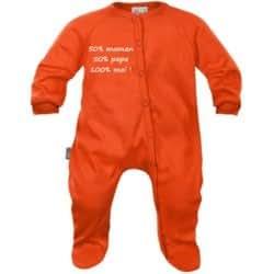 Pyjama bébé message : 50% maman 50% papa 100% moi (8 couleurs)