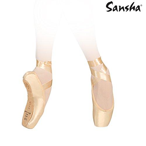 Sansha 505SP ETUDES Chaussure de Danse Pointes pour Femme en Satin - Pèche (147) - 42 EU (Taille Fabricant: 13)