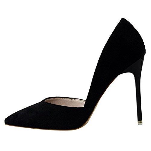 AalarDom Femme Pointu Tire à Talon Haut Couleur Unie Chaussures Légeres Noir-Dépolissement