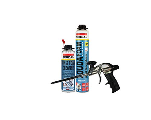 Soudafoam B2 Pistolenschaum Montageschaum als Set mit Pistole + Reiniger 1 Stück Profi-Schaumpistole teflonbeschichtet