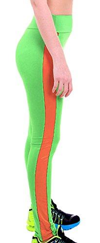 U-shot Femme Taille Empire Fitness Sports Pantalon Stretch Casual Leggings Vert pomme + Orange