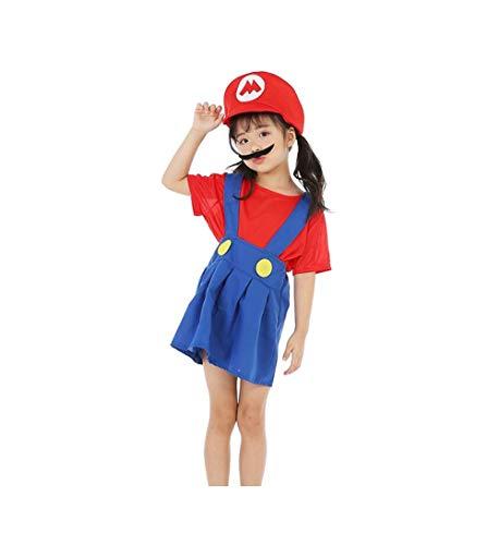 Mario Kleid Kostüm Mädchen - DS (GR. 92-128) KOSTÜM HALLOWEEN KLEID *MARIO - ROT BLAU* 3 TEILE- MÄDCHEN ROCK BART MÜTZE (128)