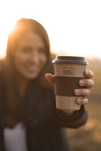 avoid waste - Nachhaltiger Kaffee-Becher to go aus Reishülsen. Der Mehrweg-Becher ist pflanzlich, biologisch abbaubar, BPA frei, spülmaschinenfest und umweltfreundlich (braun) - 4