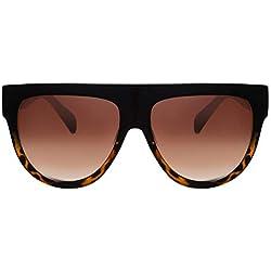 Cheapass Gafas de Sol Marrones Leopardo Oversize XXL UV400 Diseñador Gafas Mujer