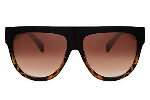 Cheapass Damen Sonnenbrille Schwarz Braun Über-Groß XXL Oversized UV-400 Vintage Leo-pard Frauen