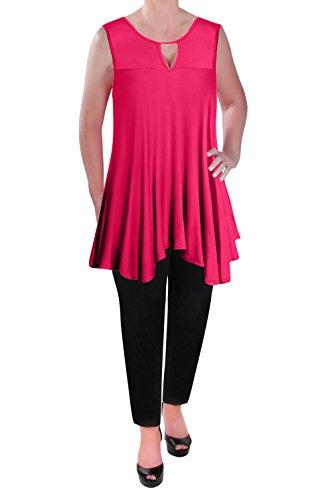 Eye Catch - Lucie Aux Femmes Sans Manches Éclater Flowy Trou De Serrure Dames Tunique T-Shirt Gilet Tops Fuschia
